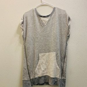 Short sleeve grey and white sweater